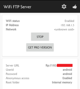WIFI FTP Server Started