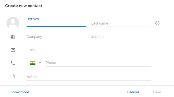 Add a contact to google contacts