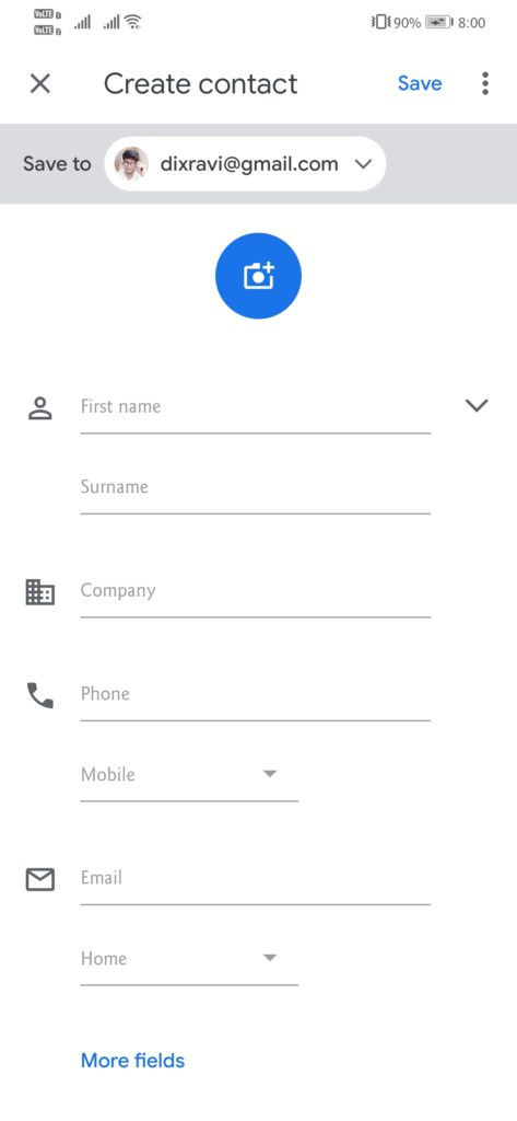 Add contacts to your Google Contacts app